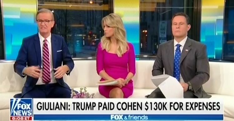 "Fox & Friends hosts insist ""no one cares about Stormy Daniels"" after Giuliani reveals Trump reimbursed Michael Cohen"