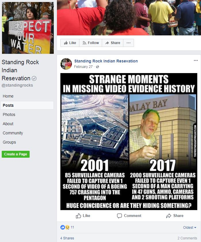 A Facebook-verified Standing Rock page that has posted fake