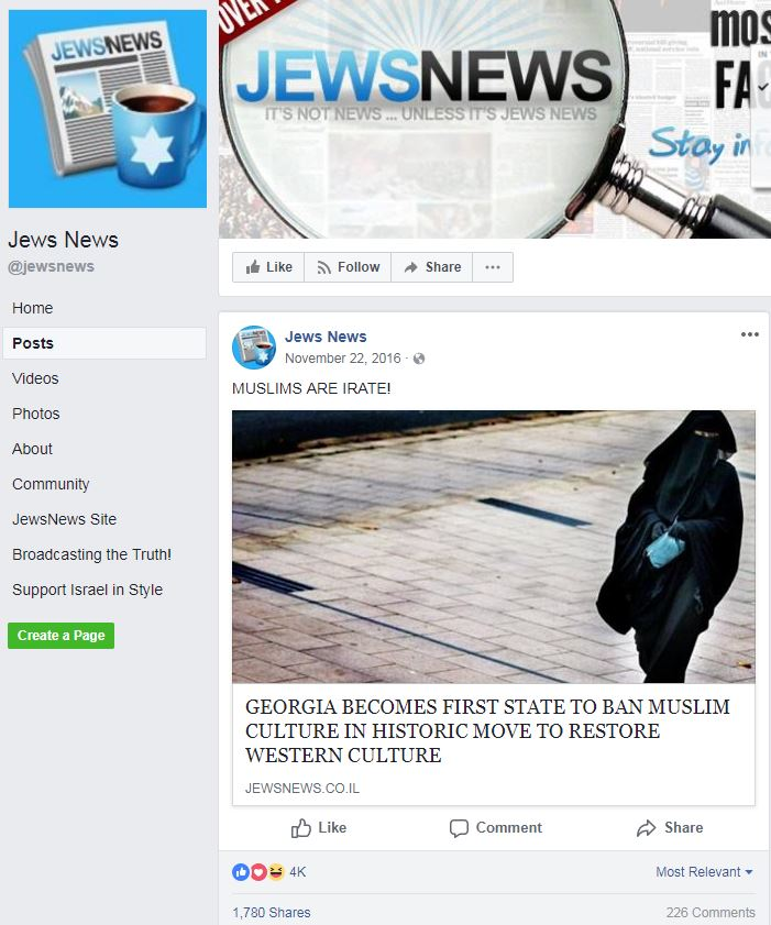 Info Post Site: 'Jews News' Is A Fake News Site Run By A Man Who Defended