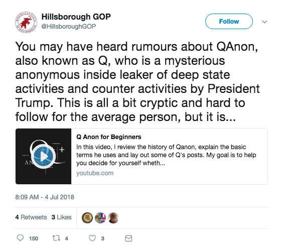 A GOP Twitter account is helping spread the baseless internet conspiracy theory QAnon
