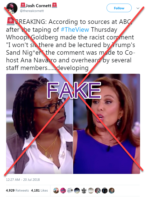 """3a7751d6 The quote, which ABC's publicity director has said """"absolutely is false,""""  has spread on Twitter, including from QAnon conspiracy theorists Michael  Moates ..."""