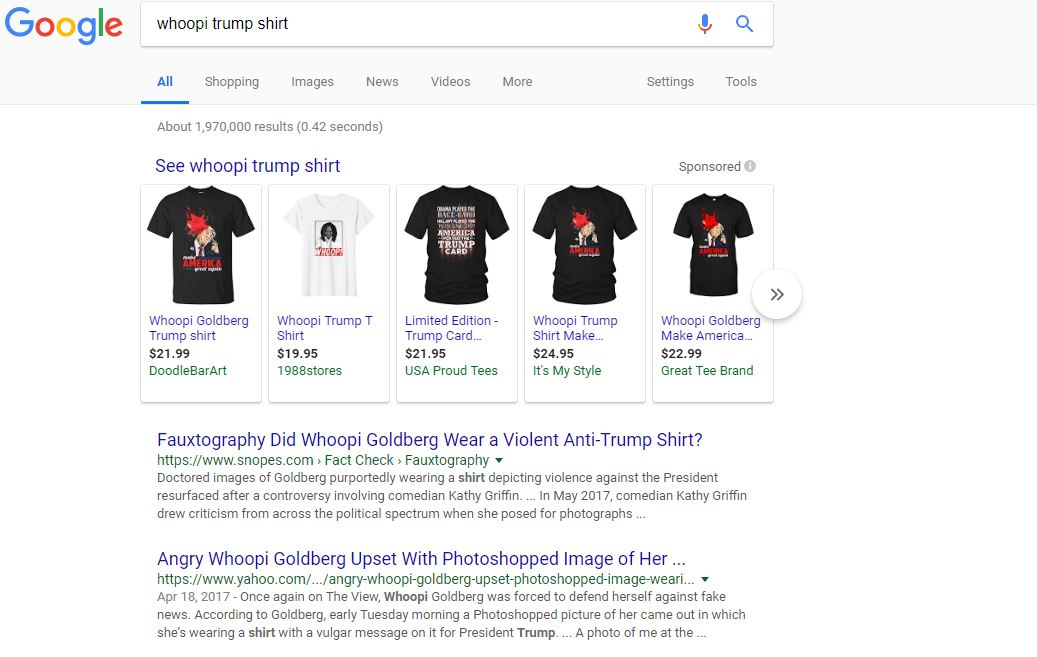 """a60cfbe4 ... it still brings up as the top result shirts from the fake image for  sale from different sellers with labels such as """"Whoopi Goldberg Trump ..."""