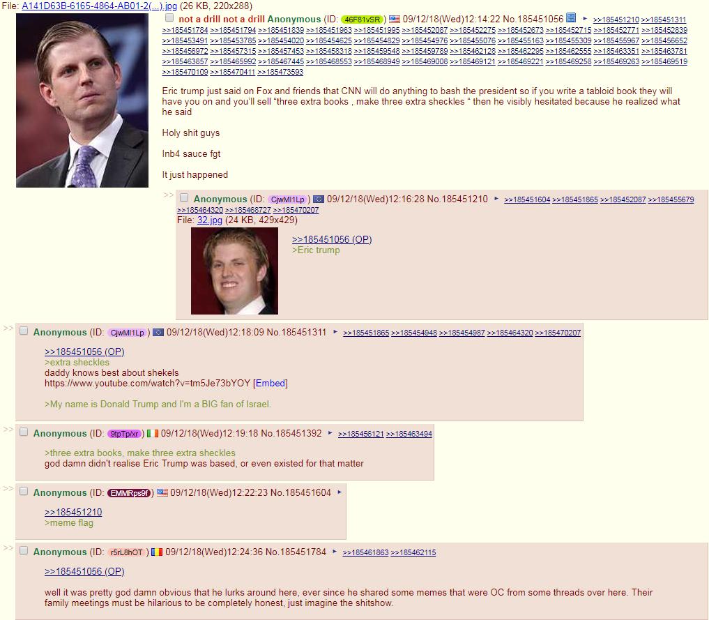 4chan trolls celebrated Eric Trump's anti-Semitic dog whistle that