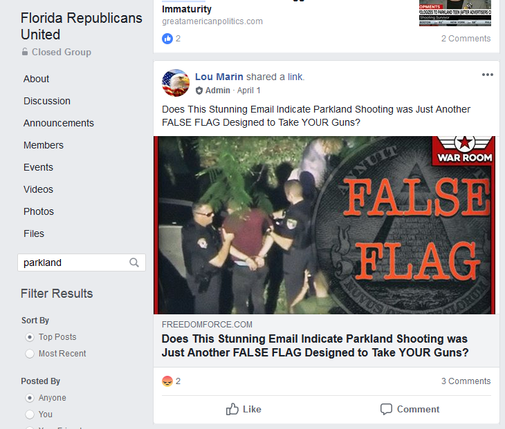 Florida GOP officials are running a private conspiracy theory Facebook group