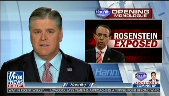 mediamatters.org - Sean Hannity: Rod Rosenstein is leading a silent coup against Trump