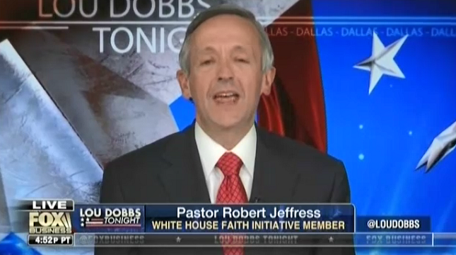 """Anti-Semitic Fox News contributor Robert Jeffress attacks the Pope as a """"globalist"""" who wants """"a one world government"""""""