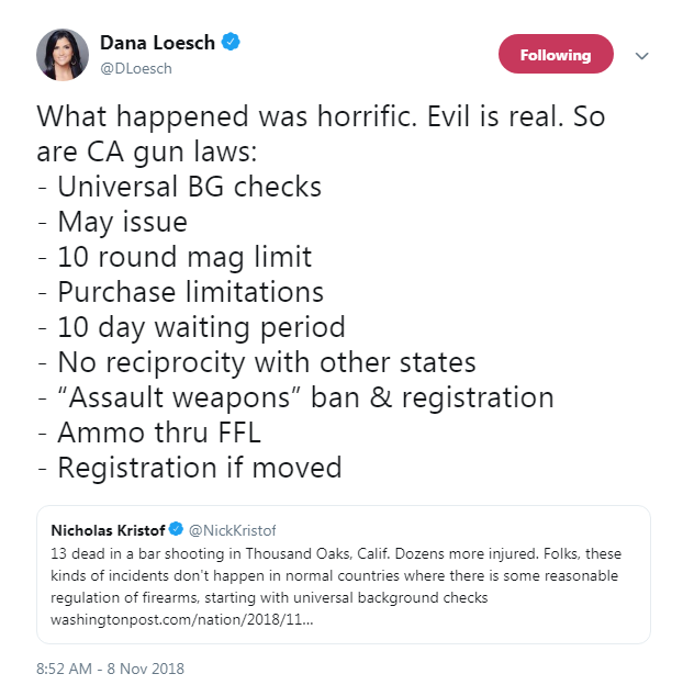 "NRA spokesperson Dana Loesch: The Thousand Oaks mass shooting was ""horrific,"" but ""so are CA gun laws"""