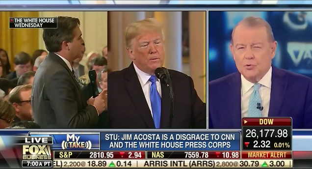 "Fox News president says his network ""supports CNN,"" but Fox News personalities have been attacking CNN and Jim Acosta on air"