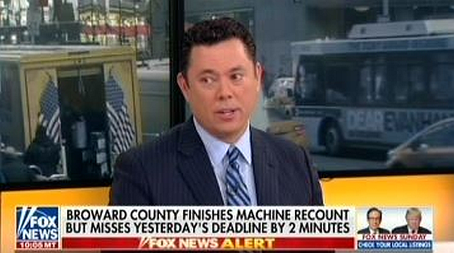 Fox's Jason Chaffetz says that Broward County intentionally reported recount results late to hurt Rick Scott's campaign