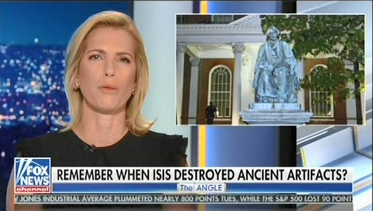 Laura Ingraham compares Confederate statues to priceless antiquities and protesters to ISIS