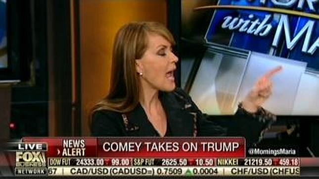 """Fox Business anchor on Department of Justice implicating President Trump in a crime: """"I just want to get back to Comey"""""""