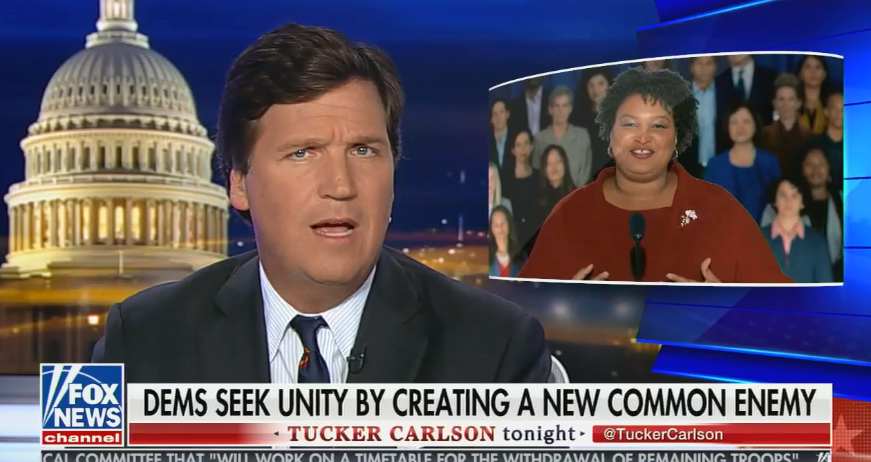 Tucker Carlson compares Stacey Abrams' stance on diversity to the Jim Crow South