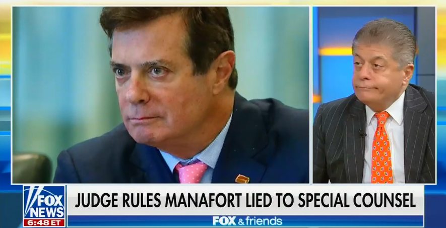 """Fox's Andrew Napolitano: Paul Manafort is old and facing """"so much jail time, he might very well be a candidate for a pardon"""""""