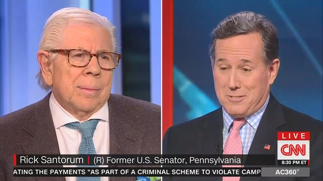 CNN's Rick Santorum says Trump lies consistently about a lot of things so it doesn't matter if he lies about Russia
