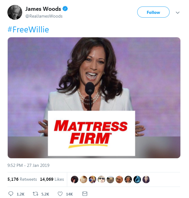 Actor James Woods is a main conduit for content from the far-right