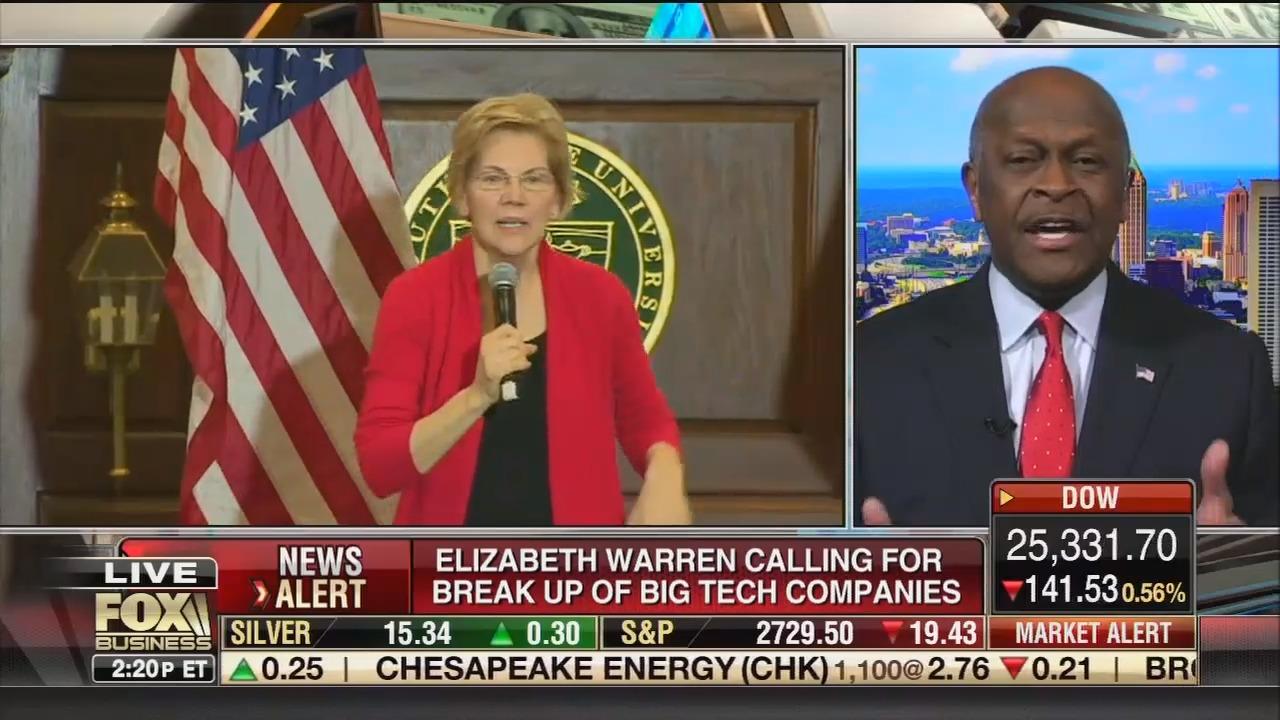 Herman Cain on Fox Business: Sen. Elizabeth Warren's proposal to break up big tech companies would fit in with Venezuela or Cuba