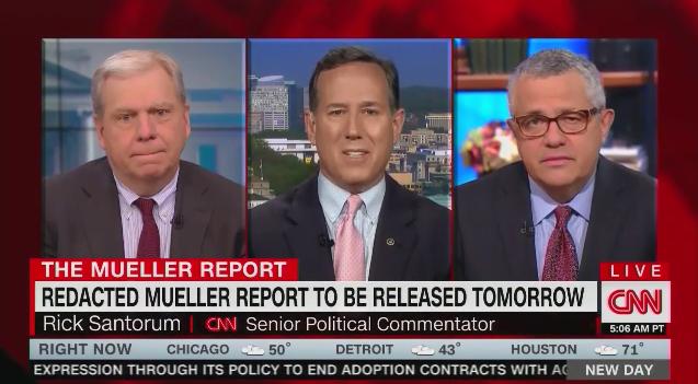 """CNN's Rick Santorum: Reporting on the redacted Mueller report is not """"good journalism"""""""