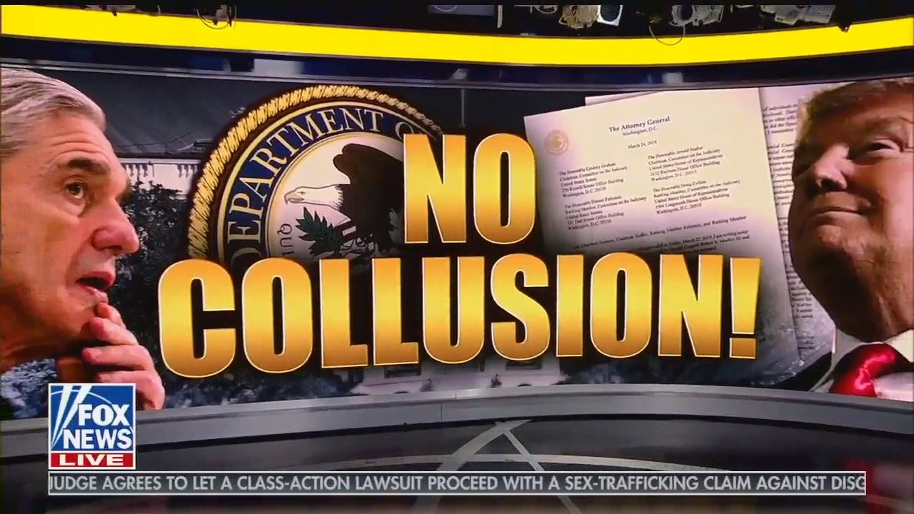 "photo image The Mueller report didn't address collusion, but that's not stopping Fox News from screaming ""no collusion"""