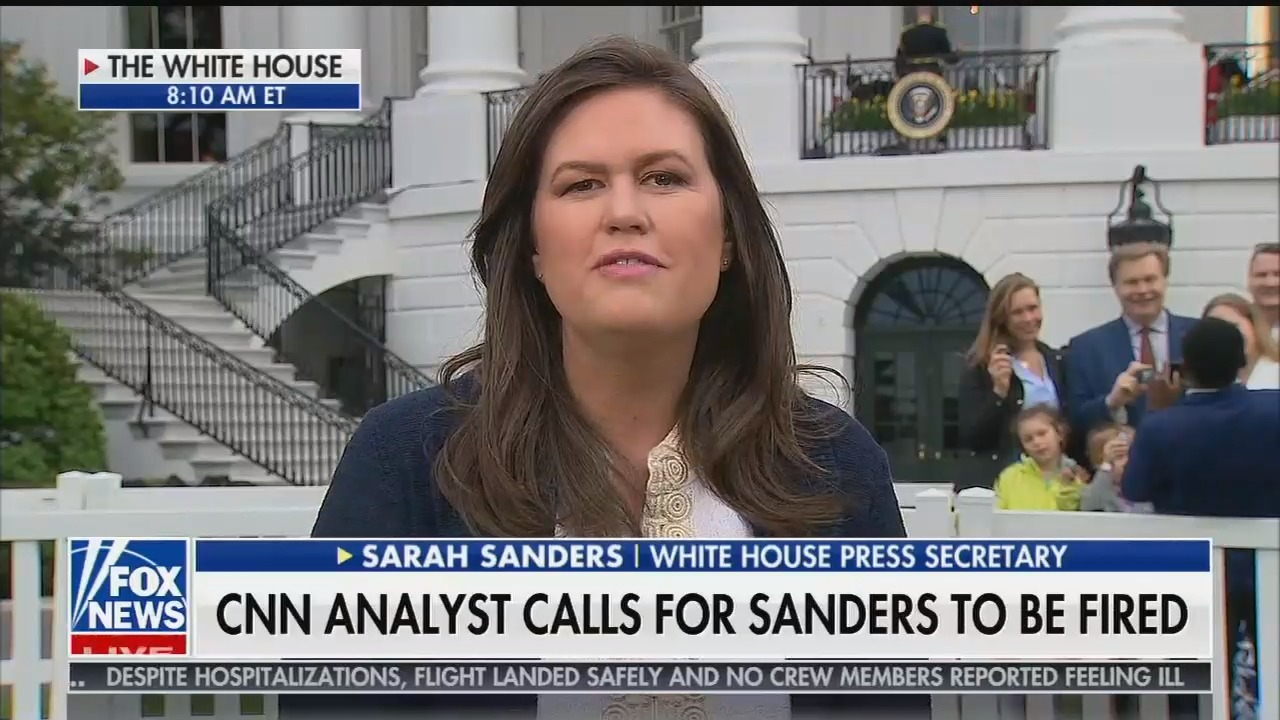 Image result for sarah huckabee sanders fox and friends april ryan