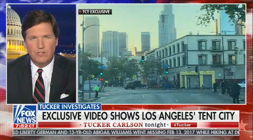 Tucker Carlson blames homelessness in Los Angeles on immigration and sanctuary cities