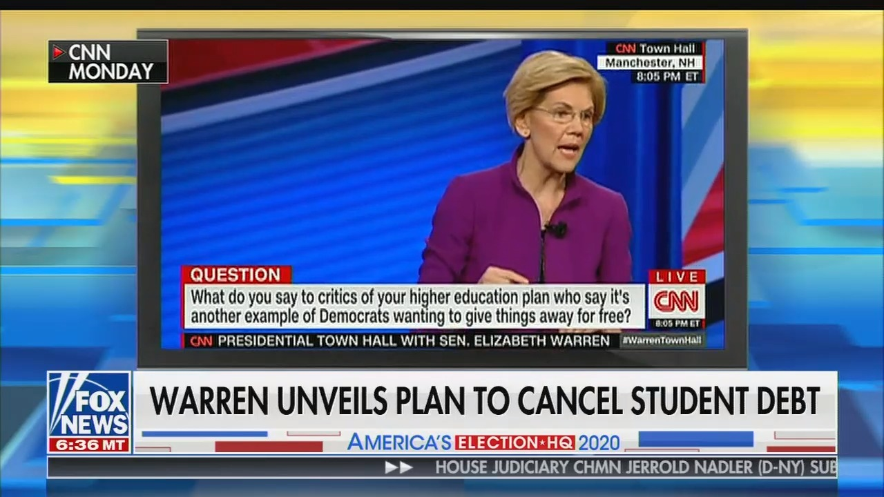 mediamatters.org - Fox host downplays student debt crisis by dismissing Warren's plan to cancel debt as 'buying votes'