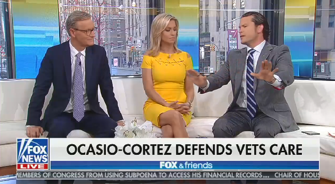 """Fox's Pete Hegseth calls Alexandria Ocasio-Cortez a """"mindless moron"""" after she resists calls to privatize the VA"""