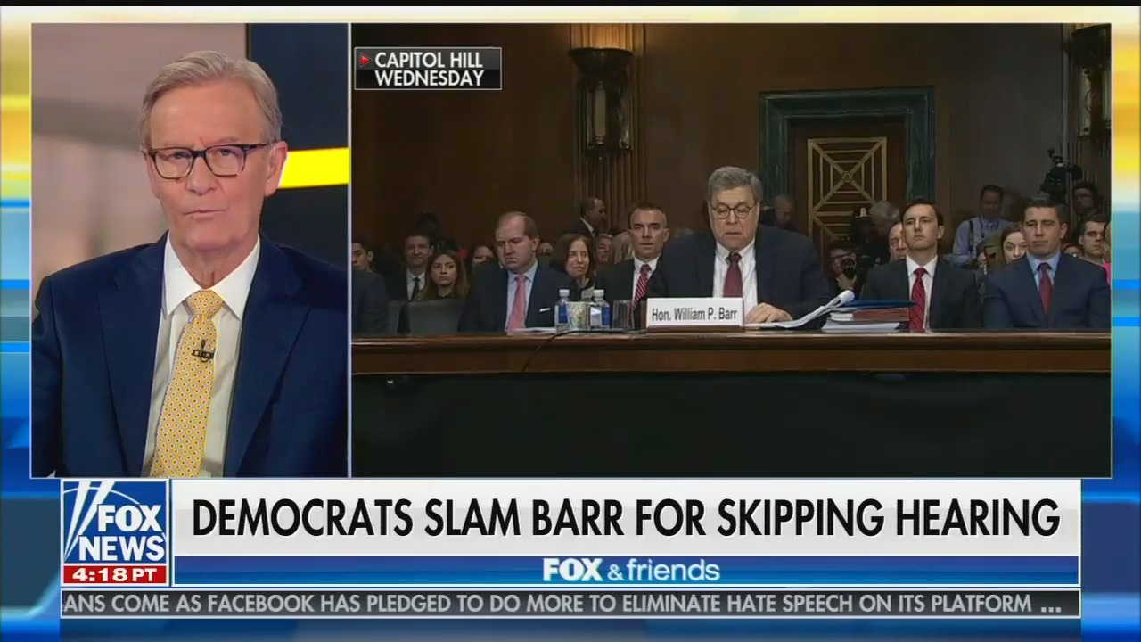 "Fox's Steve Doocy suggests Democrats' questioning of Attorney General Barr on Mueller report will be ""a perjury trap"""
