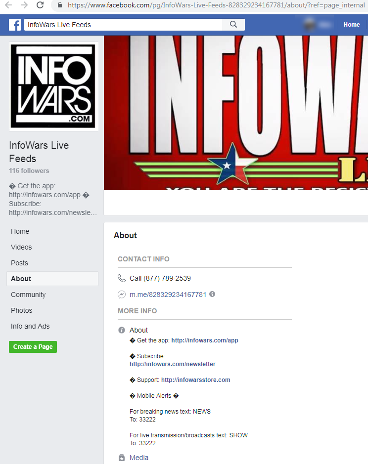 261328df Facebook pages that associated themselves with Infowars in their