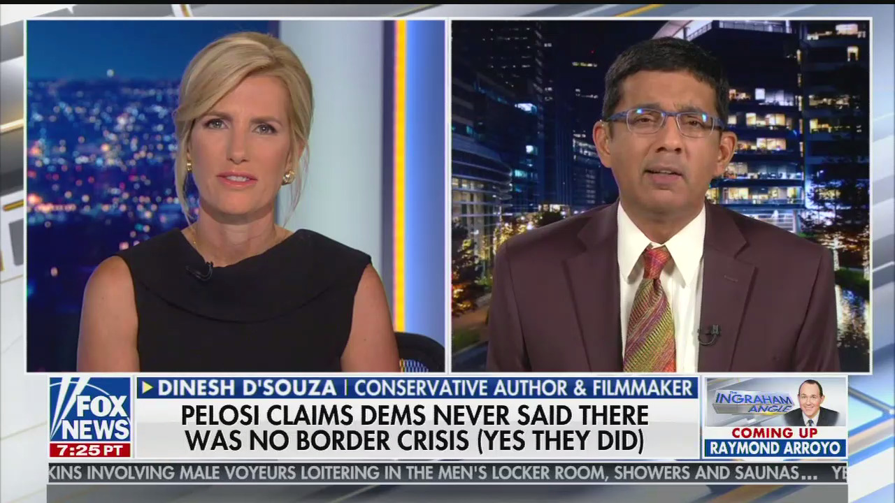 "photo image On Fox News, Dinesh D'Souza claims Democrats ""want to sort of transform the demographics of America"" through immigration"