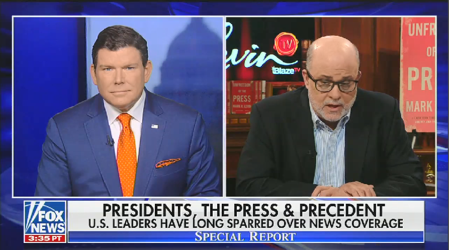 "Fox's flagship news program, Special Report, allows talk radio host Mark Levin to claim Trump has been ""tame"" and ""incredibly passive"" towards the press"