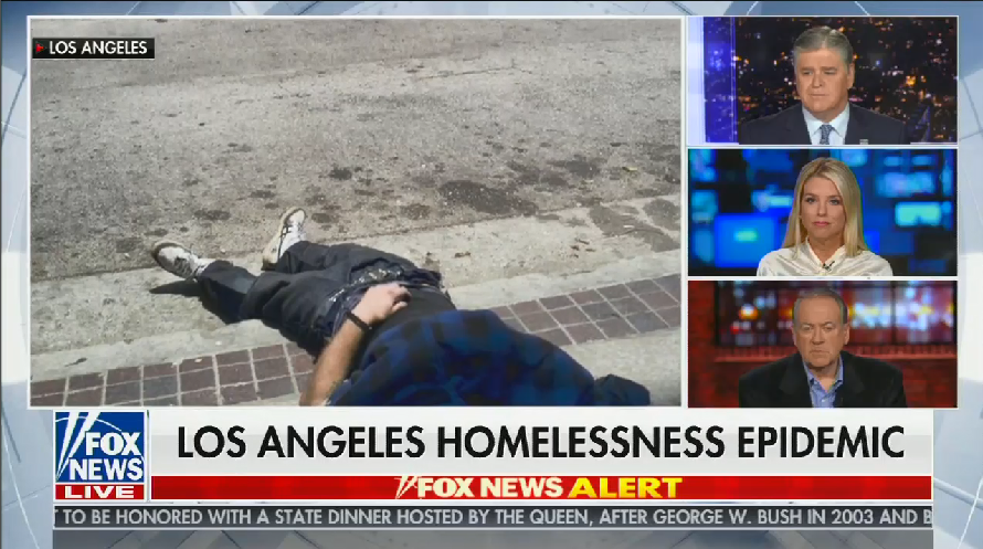 Sean Hannity and guests claim only states run by Democrats have homeless people