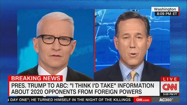 Watch CNN's Rick Santorum's pathetic attempt to justify Trump's confession that he welcomes election help from foreign governments