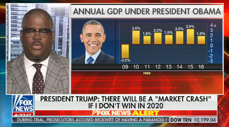 "Fox Business host falsely claims the 2009 market crash was a ""knee-jerk reaction"" to President Obama's election"