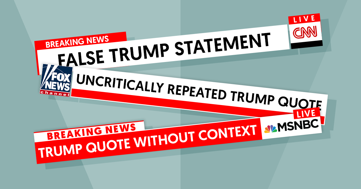 Cable news chyrons frequently parroted Trump's false