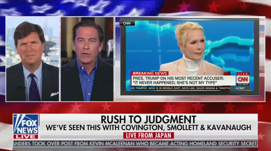 """Tucker Carlson dismisses E. Jean Carroll: """"These aren't serious statements from a rape victim"""""""