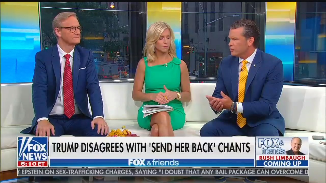 """Fox & Friends host lies that Trump has """"never yet once invoked race ... Trump doesn't make it about race"""""""