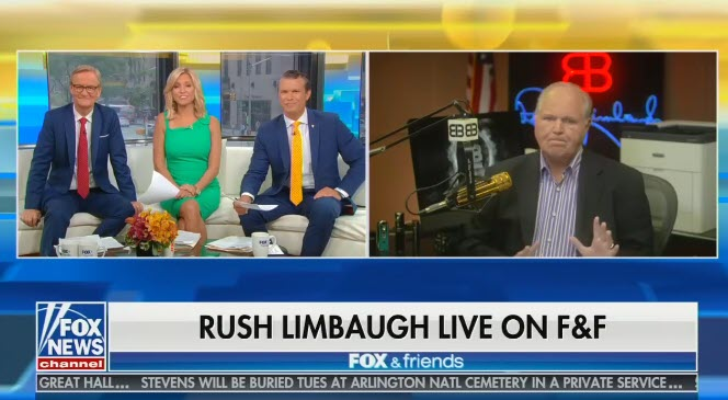 """On Fox & Friends, Rush Limbaugh downplays racist chant against Rep. Ilhan Omar as """"some innocent little chat born of fun"""""""