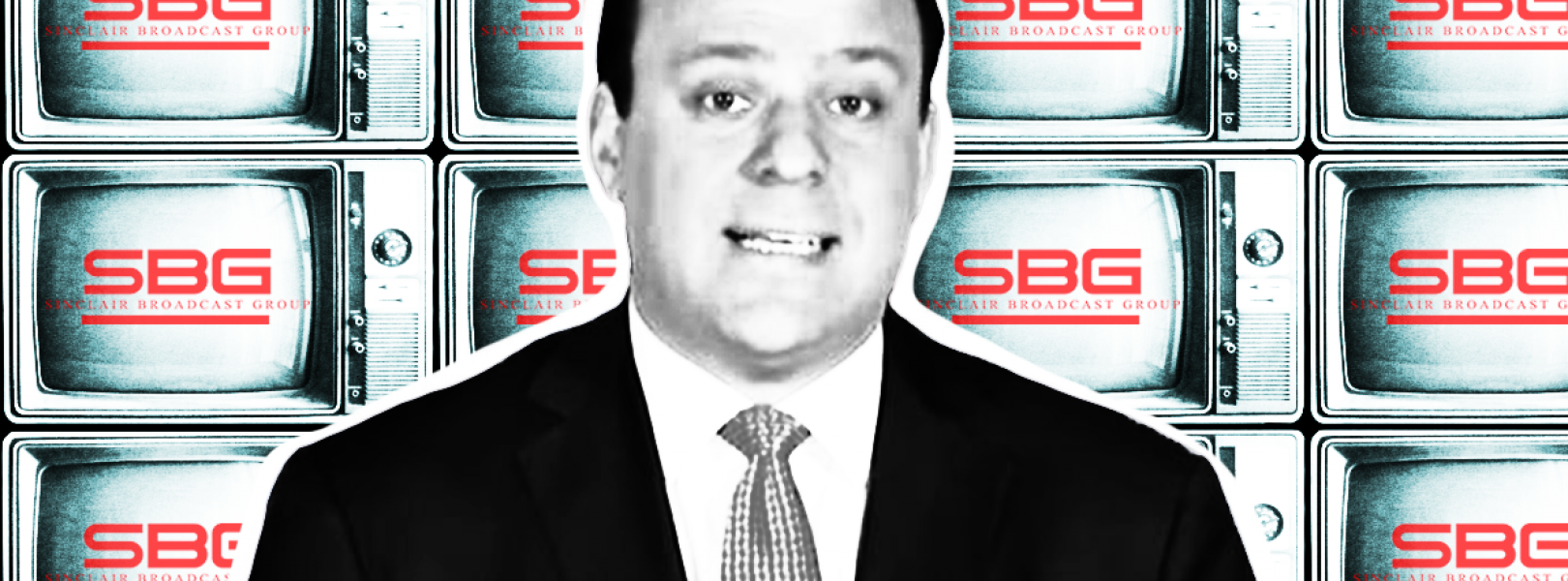 stylized image of Boris Epshteyn in front of the Sinclair Broadcast Group logo