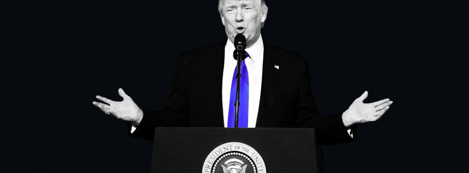 Donald Trump standing behind the presidential seal, with a black background