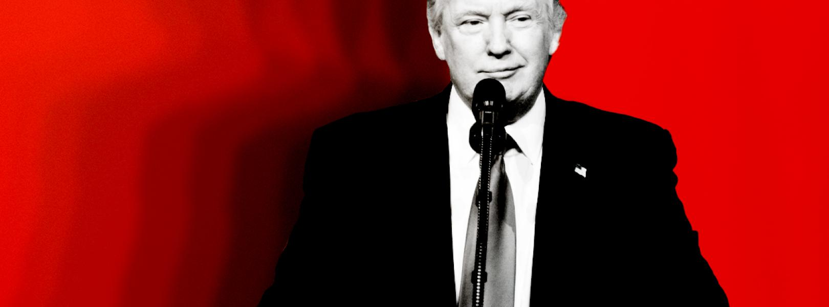 Donald Trump with a red background