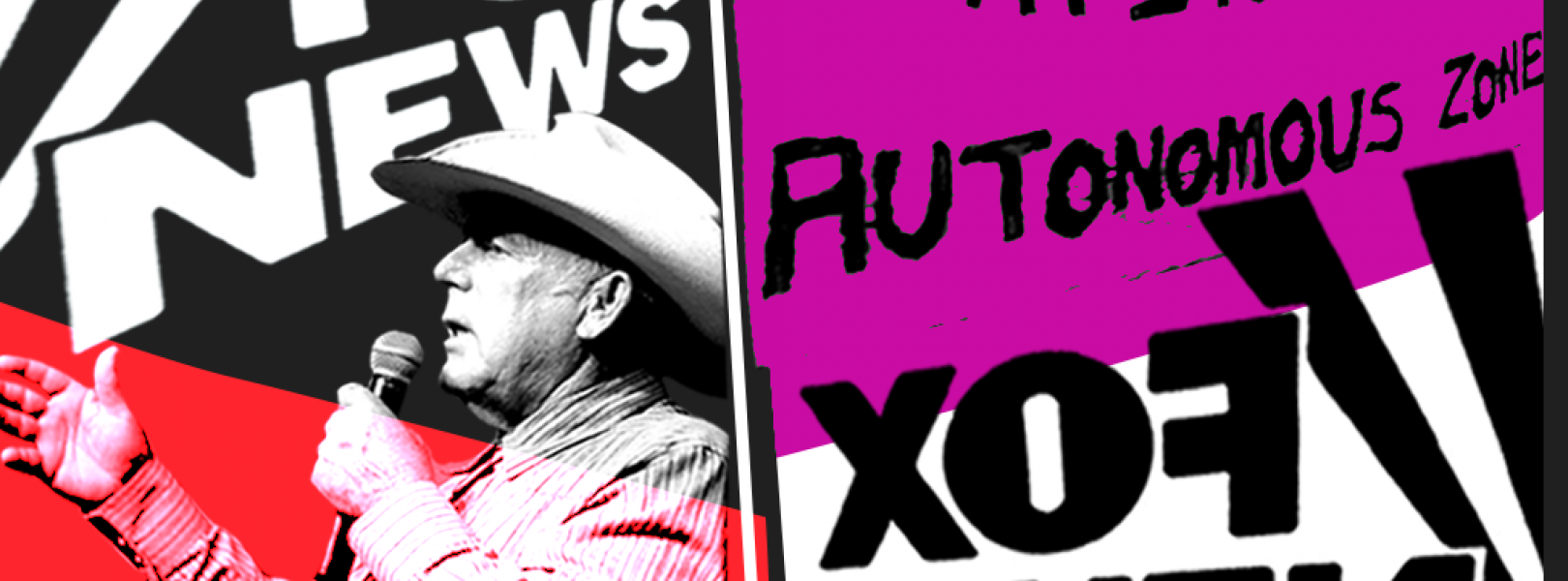 Image showing Cliven Bundy and a sign from the Seattle autonomous zone with the Fox News logo
