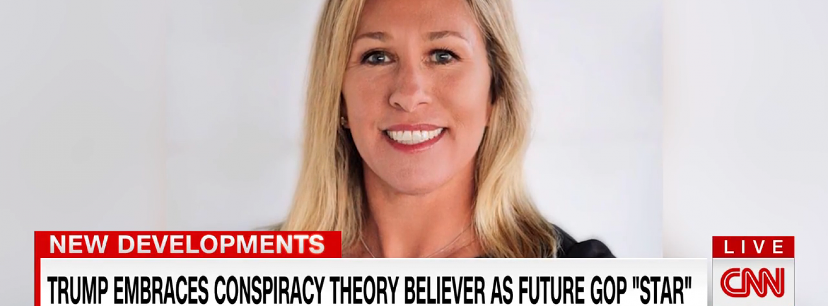Marjorie Taylor Greene QAnon / Trump image from CNN