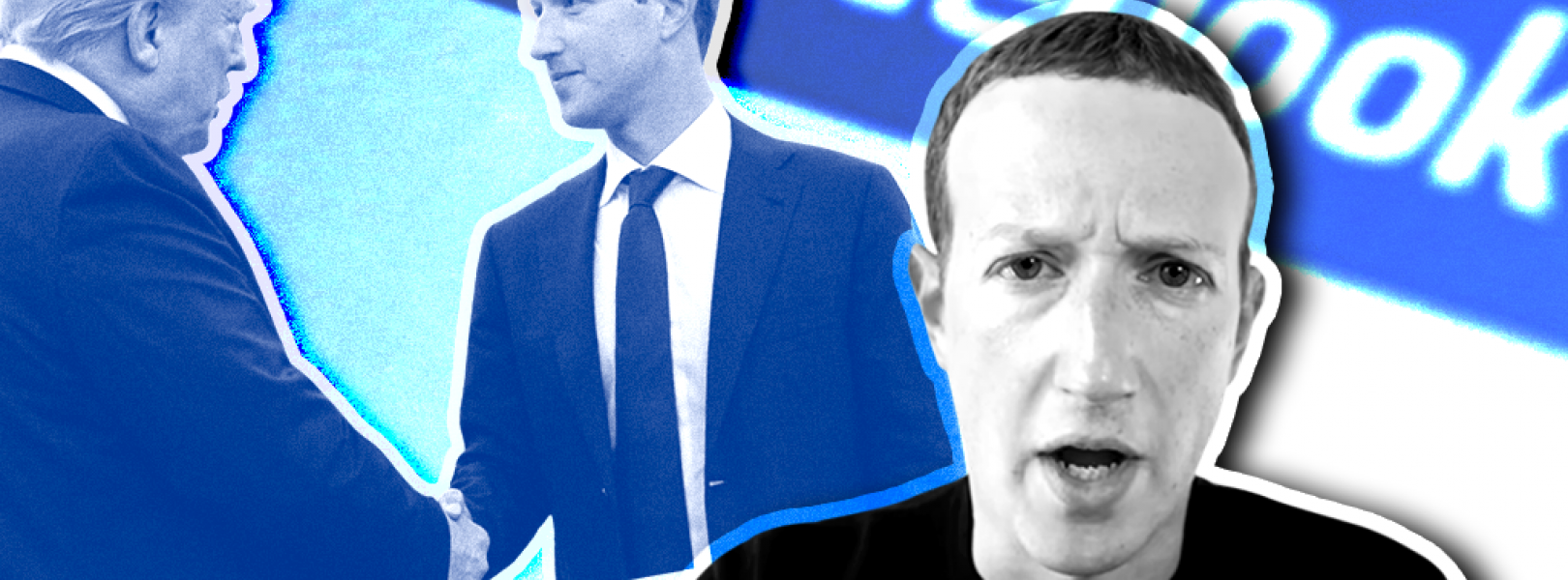 Mark Zuckerberg and Donald Trump on a blue background