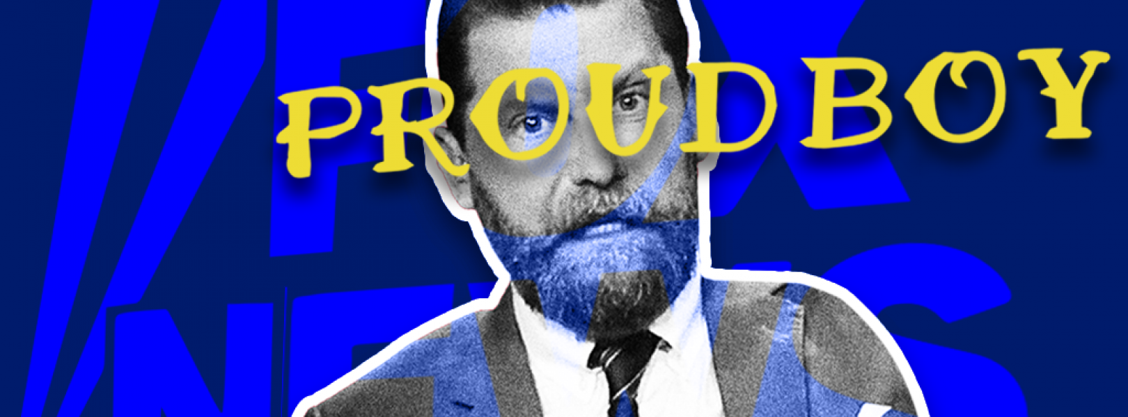 Gavin McInnes with the logos for the Proud Boys and Fox News