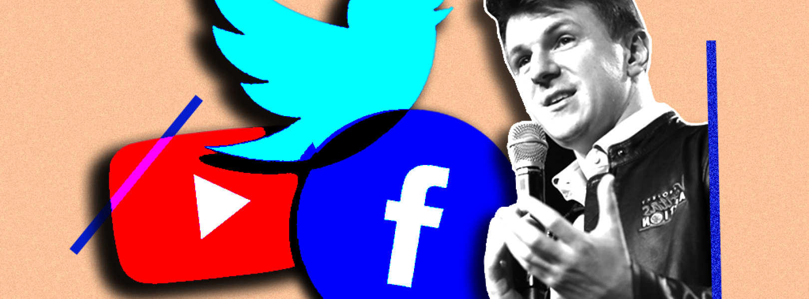 James O'Keefe and the logos for YouTube, Twitter, and Facebook