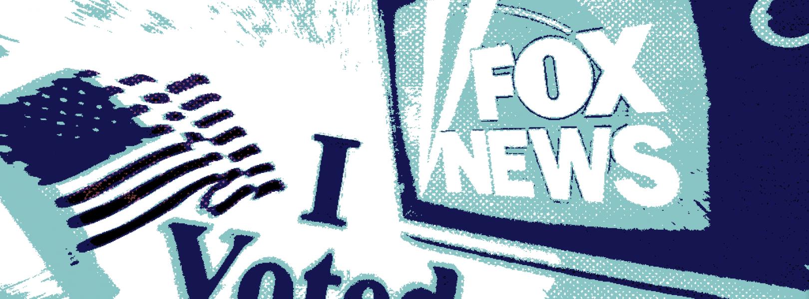"The Fox News logo alongside an ""I Voted"" sticker"