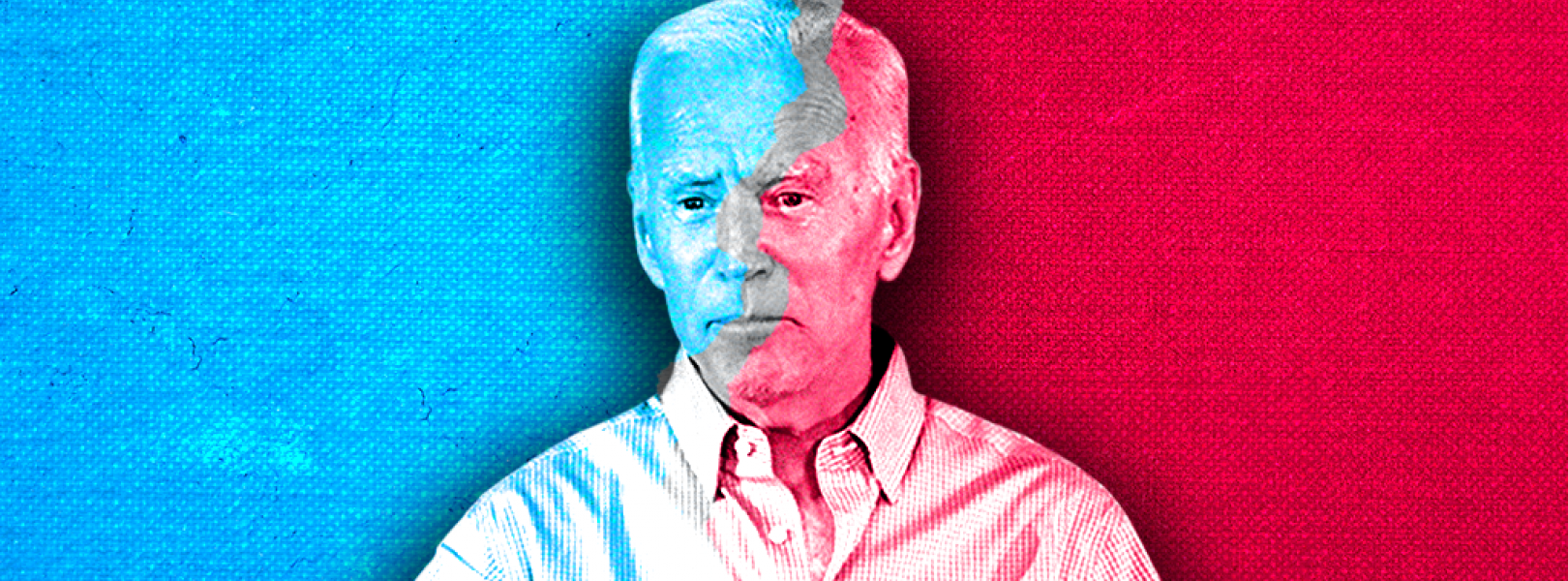 Joe Biden with a blue and red background