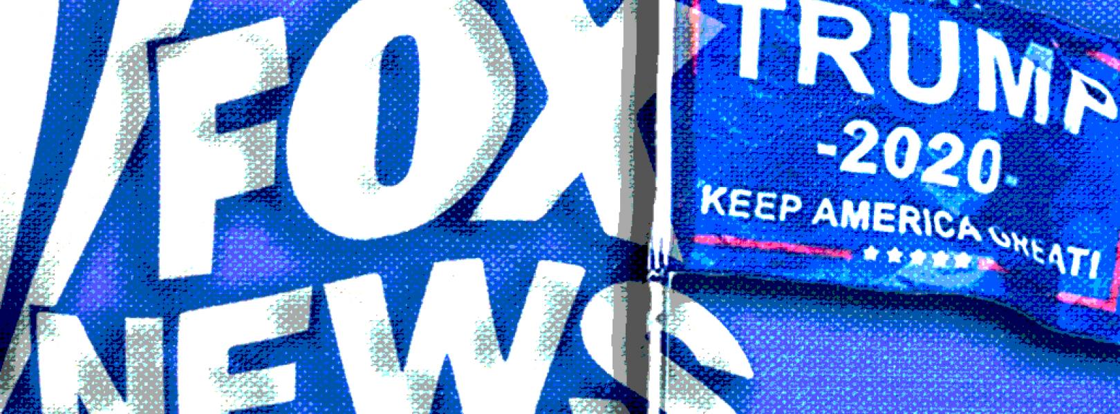 Fox News' logo and a Trump 2020 flag