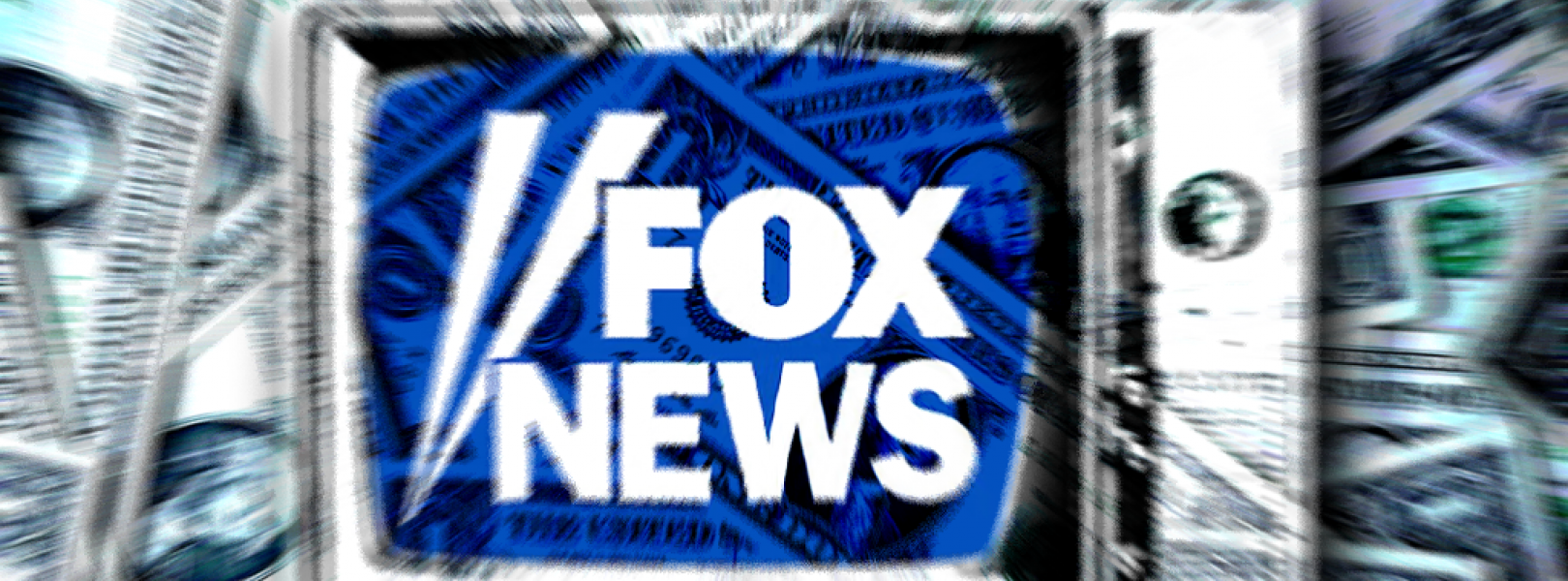Fox News on a TV with a background of cash