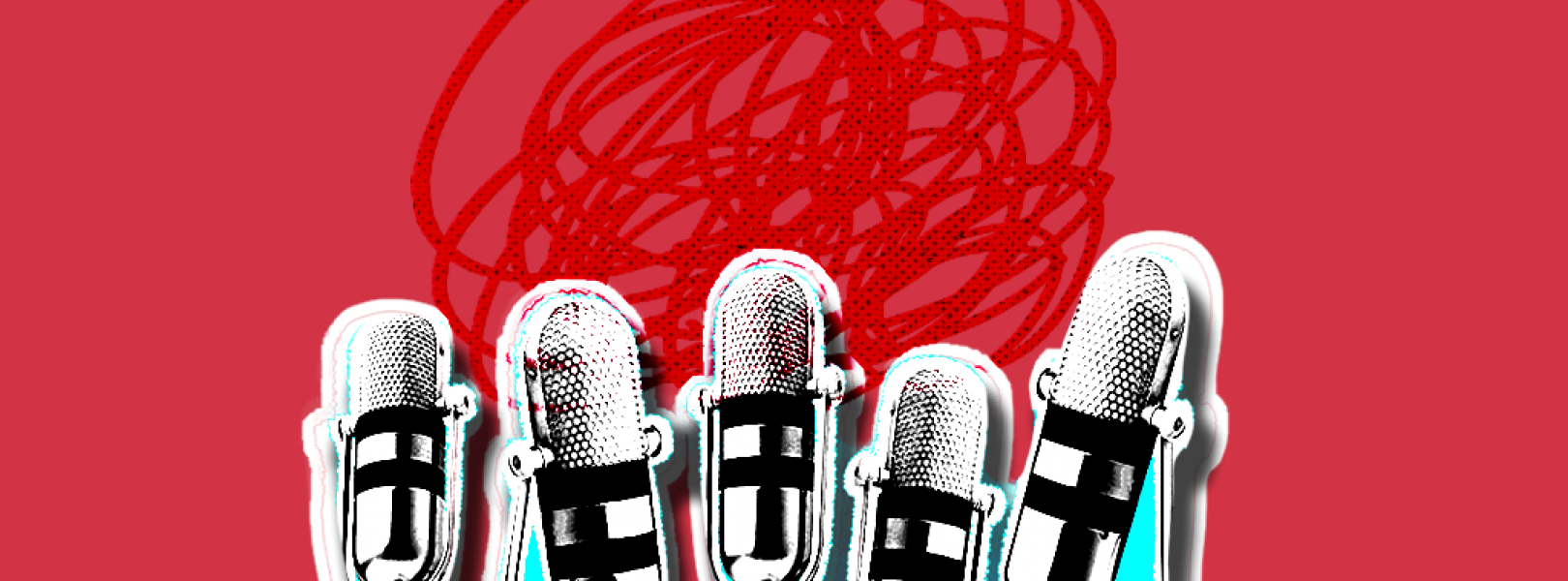 Microphones on a red baackground
